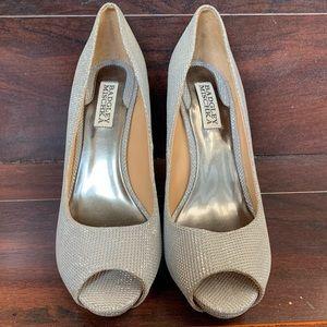 Badgley Mischka Peep Toe Silver Stilettos